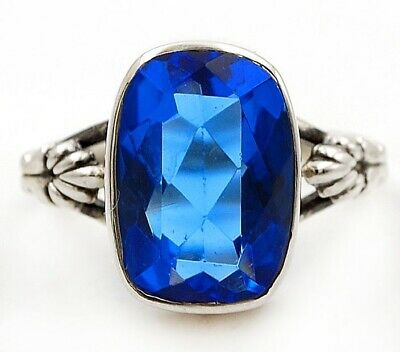 Top Quality 6CT Blue Sapphire 925 Solid Sterling Silver Ring Jewelry Sz 8