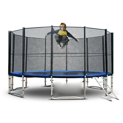 Round Trampoline w/Enclosure Bounce Jump Safety Net Spring Pad &Ladder Blue 12FT
