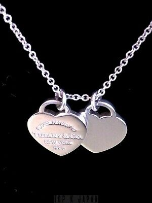 Return to Tiffany & Co. Double Mini Hearts Pendant Sterling Silver Necklace 16""