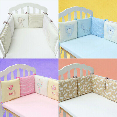 6Pcs Set Crib Bumper Safety Baby Infant Bed Nursery Bedding Cot Protector