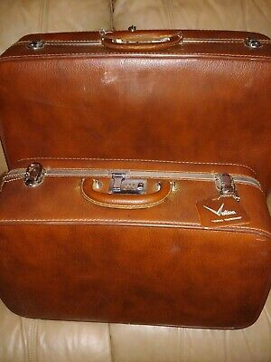 SET OF TWO BROWN Vintage Ventura CASUAL TRAVELWARE Luggage Set 1950's