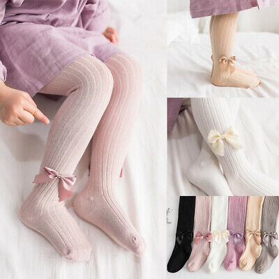Baby Girls Kid Tights Bows Plain Opaque Cotton Warm Socks Tights 0-8Y  Pantyhose