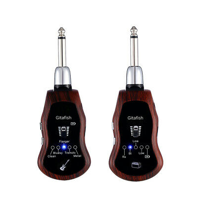 UHF Guitar Wireless System Transmitter & Receiver 10 Channels + 5 Effects H8P5