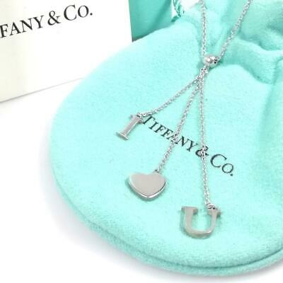 Tiffany & Co. Sterling Silver 925 Letter I LOVE YOU Heart Bead Lariat Necklace