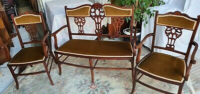 Edwardian Inlaid Mahogany Salon Suite Settee and Two Carver Chairs