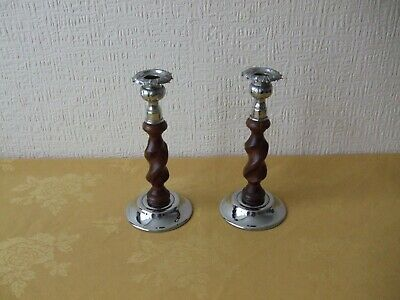 PAIR OF ART DECO 1930s WOODEN BARLEY TWIST & CHROME CANDLESTICKS.