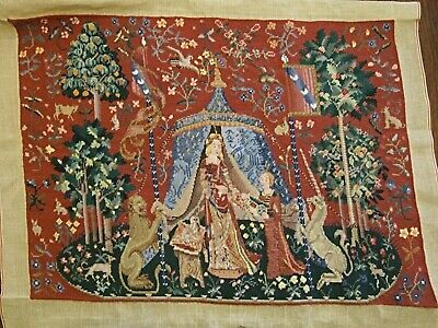 Medieval Lady & Unicorn cross stitch TAPESTRY PANEL hand made wall-hanging