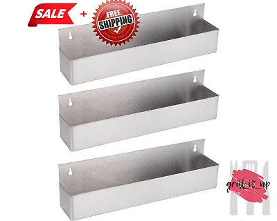 "3 Pack 22"" Silver Stainless Steel Single Tier Commercial Bar Speed Rail Rack CPS"