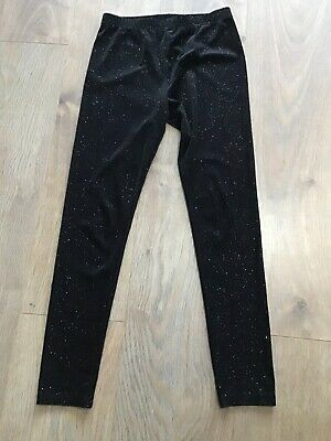 Next Girls Age 10 Years Black Leggings Silver Sparkle Ribbed G410