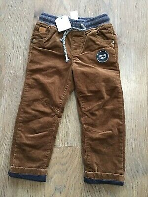 BNWT Next Boys Age 2-3 Years Brown Corduroy Trousers Pull Up G434