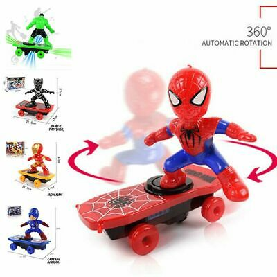 Electric Spiderman Scooter Skateboard Kids Toy With Light Music 360° Tumbler CX7