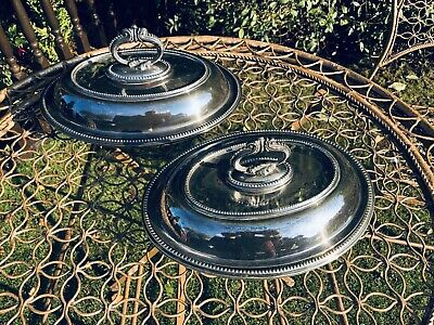 Vintage Pair Of Oval Walker And Hall Shaped Silver Plated Lidded Serving Dishes