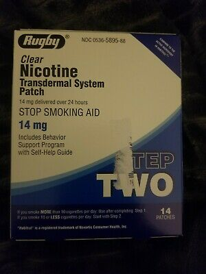 Rugby Clear Nicotine Transdermal System Patch Step 2 Stop Smoking Aid 14mg/13ct