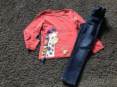 """Girls Next Skinny Jeans & """"Giraffe"""" Fun Detailed L/S Top Outfit Age 4 - 5 Years"""
