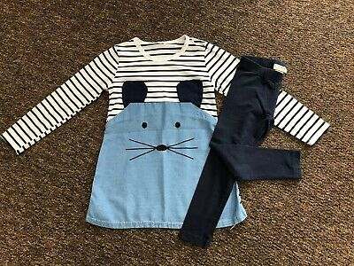 """Girls Next """"Mouse"""" Denim & Material Dress & Leggings Outfit Age 4 - 5 Years"""
