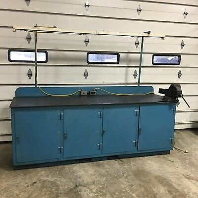 "96""x28"" Work Table Welding Shop Bench Tool Chest With Drawers And Vise LOCAL PIC"