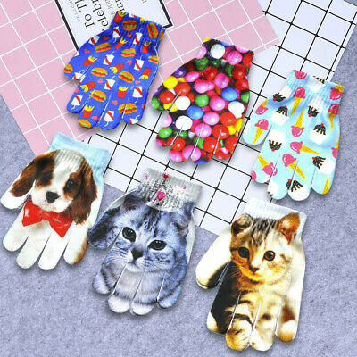 Fashion Kids Children Winter Warm 3D Animal Print Cute Knitted Kitty Pet Gloves