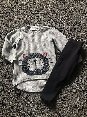 """Girls Next """"Lion""""  Chunky Jumper Dress And Leggings Outfit Age 3 - 4 Years"""