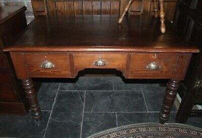Antique 4ft pitch pine DESK side hall table 3 drawers cup shell handles