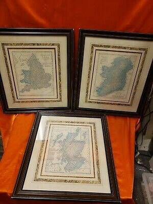 Scotland Ireland England And Wales Framed Vintage Maps 3 Total