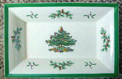 Spode England Christmas Tree Rectangular Serving Candy/Nut Tray Dish