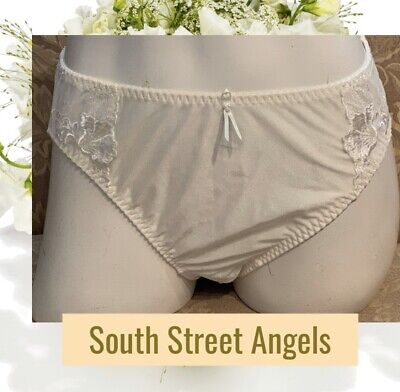 Wacoal 84133 ~ Vintage Ivory Shell Embroidered Hi-Cut Nylon Brief Panties Large