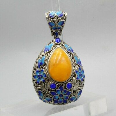 Collectable China Old Miao Silver Handwork Inlay Agate Unique Auspicious Pendant