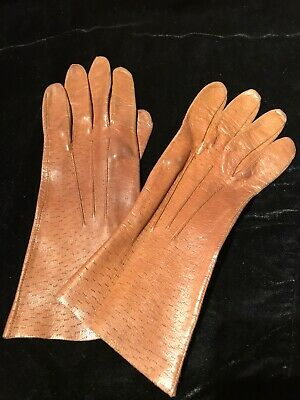 Vintage Ladies Tan Leather Gloves Small - Retro Brown Winter Outerwear Womens