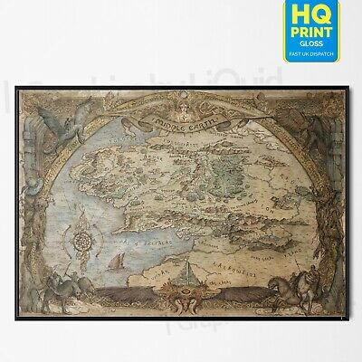Hobbit/Lord Of The Rings Middle Earth Map Poster Art Print | A4 A3 A2 A1 |