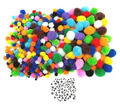 EduKit Pack of 600 Craft Pom Poms Assorted Sizes & Colours  + 100 Googly Eyes