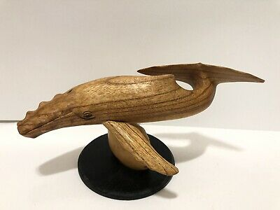 """Hand Carved Wood Humpback Whale 10""""  On Stand"""