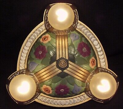 RARE ANTIQUE CAST IRON ART NOUVEAU FLUSH MOUNT CEILING LIGHT Ca 1920 RESTORED