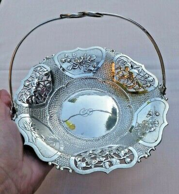 VERY GOOD ANTIQUE DECORATIVE CHINESE SOLID SILVER BASKET / DISH 223gms
