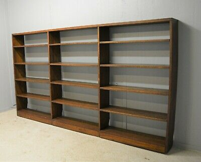 Library Bookcase Large Solid Dark Oak Open Backed Hard Wooden Delivery Available