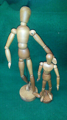 2 x Artist's Wooden Manikin Mannequin Poseable Lay Figure Drawing Models