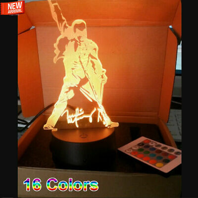 Acrylic Trophy Freddie Mercury The Queen  Engraved LED lamp Multicolor Light