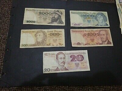 Poland 5 different banknotes 1982 set
