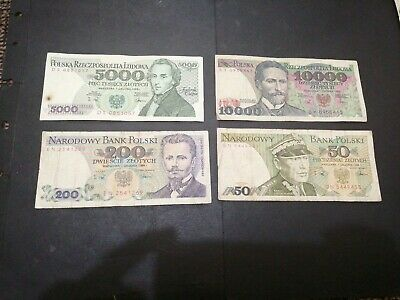 Poland 4 different banknotes 1988 set