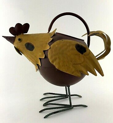 Farmhouse Rustic Metal Chicken Kettle Yellow Brown Rooster Country Hen