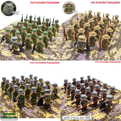 21pcs WW2 Military Soldiers France US Britain Army  Weapon for Legoe Minifigures