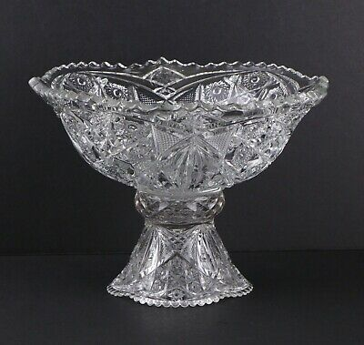 Antique EAPG MCKEE Fentec Clear Pressed Glass Punch Bowl & Stand, Star & Arch