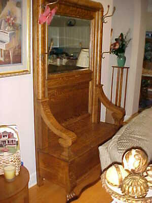 ~Antique Gorgeous Oak Hall Stand With Beveled Mirror And Copper Hooks And Bench~
