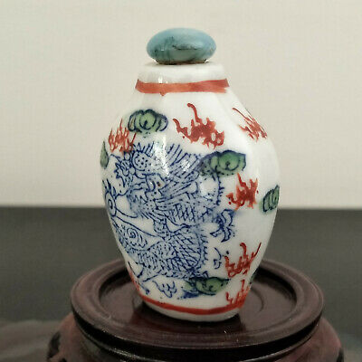 Old Chinese Porcelain Snuff Bottle Hand Painted