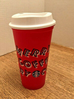 STARBUCKS Limited Edition Red Reusable Holiday Cup Merry Coffee Grande NEW 2019