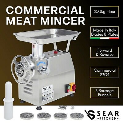 Commercial Meat Mincer 250kg/hr - Electric Grinder Sausage Maker Filler Stuffer