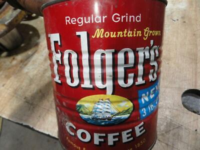 Vintage Folgers Coffee 3lb Can 1959