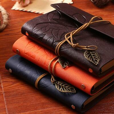 Retro Vintage Leaf Cover Leather Travel Diary Office Memo Blank Notepad Notebook
