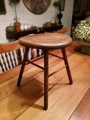 Primitive Milk Stool Very Old, late 1800's ? Sturdy !