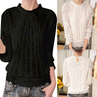 Fashion Womens Autumn Floral Lace Long Sleeve O-Neck Tops Blouse Lady T Shirt CA