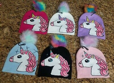 ONE SIZE FITS MOST KIDS~ PICK YOUR COLOR Girls Unicorn Winter Hat with Pom Pom
